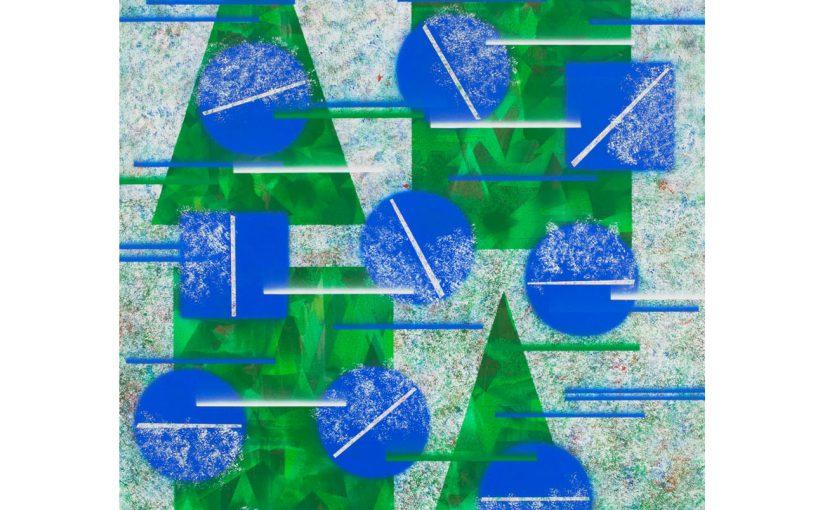 blaue Kugeln . 2017 . 190 x 135 cm . Acryl auf Baumwolle