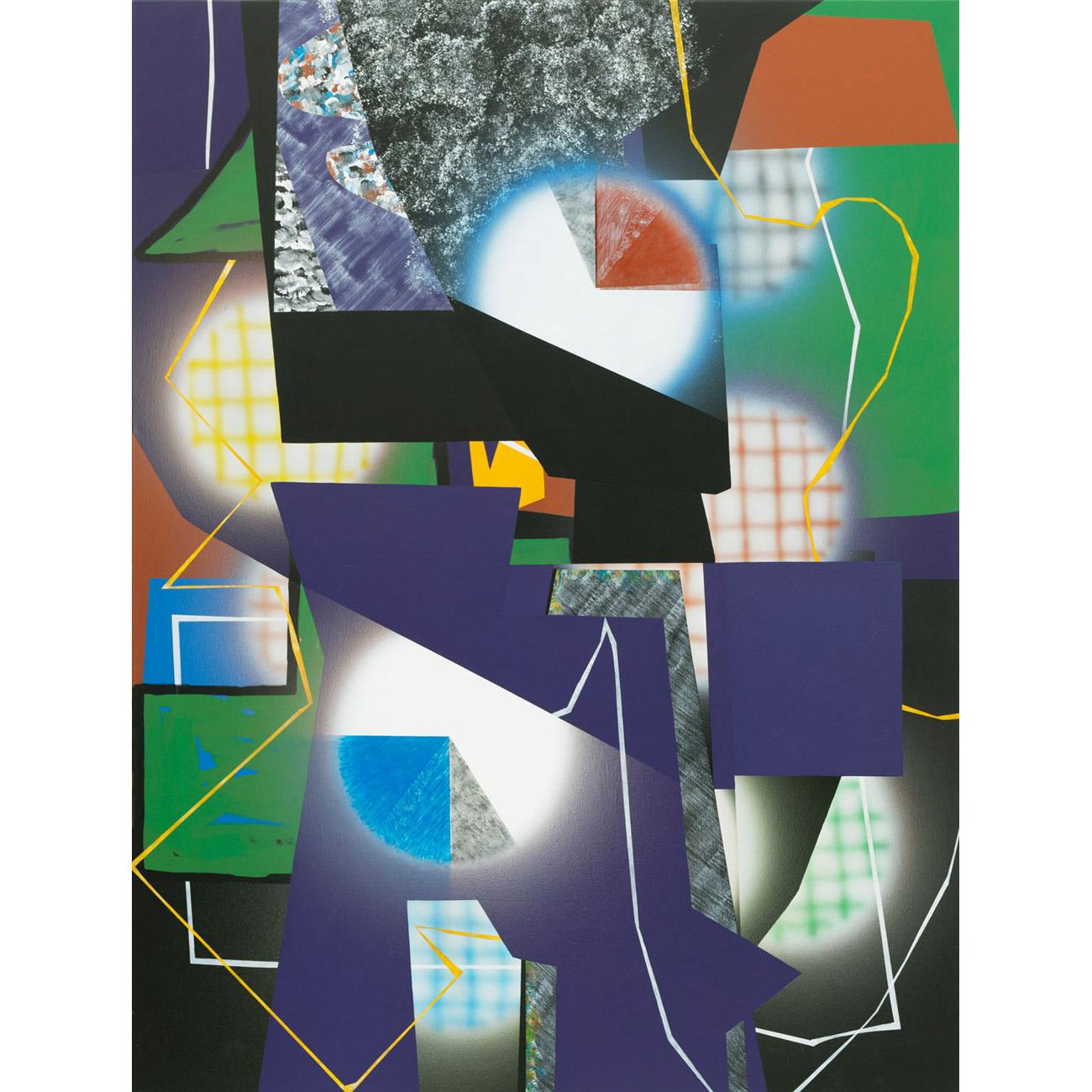 Orientierung (Zacken und Schlaufen) . 2013 . 200 x 150 cm. Acryl auf Baumwolle