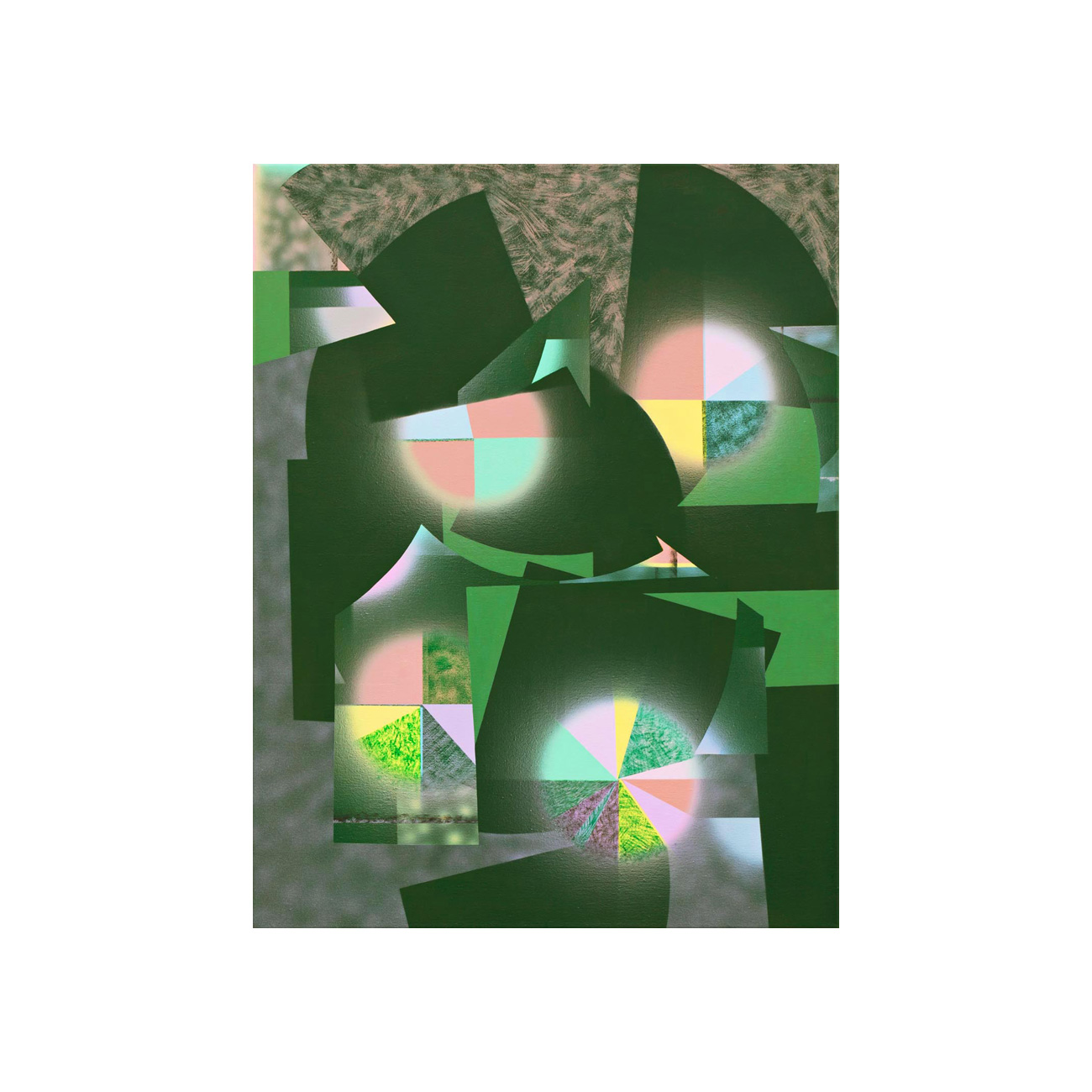 grünes Pastellbild . 2012 . 94 x 72 cm . Acryl auf Baumwolle