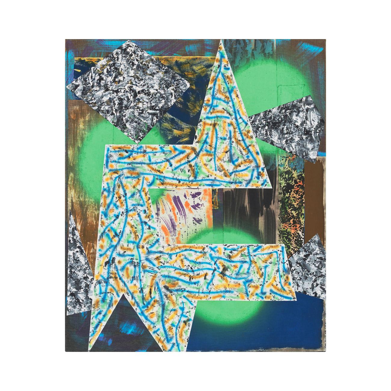 Zackenbild grün . 2014 . 125 x 105 cm . Stoffe und Acrylfarbe auf Baumwolle