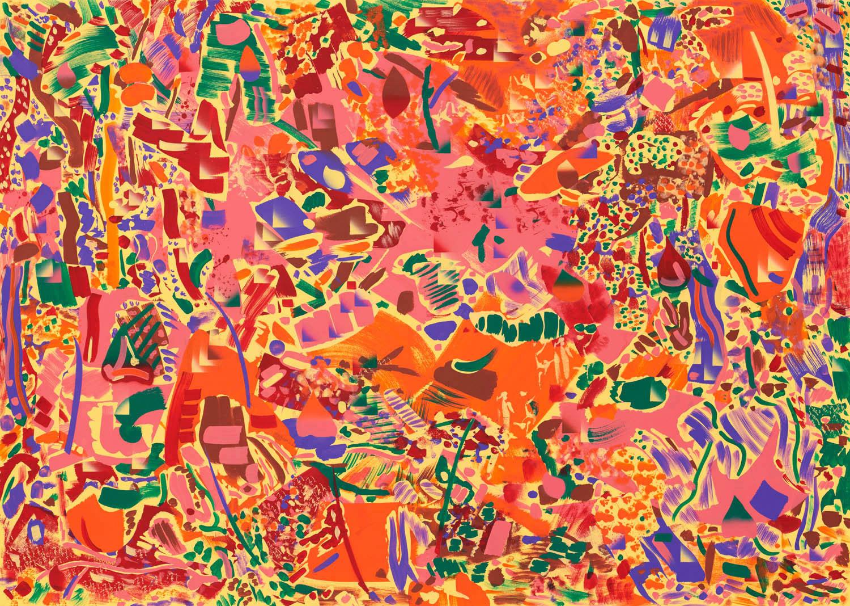 Mineralien und Metalle/Abzweigung . 2019 . 135 x 190 cm . Acryl auf Baumwolle