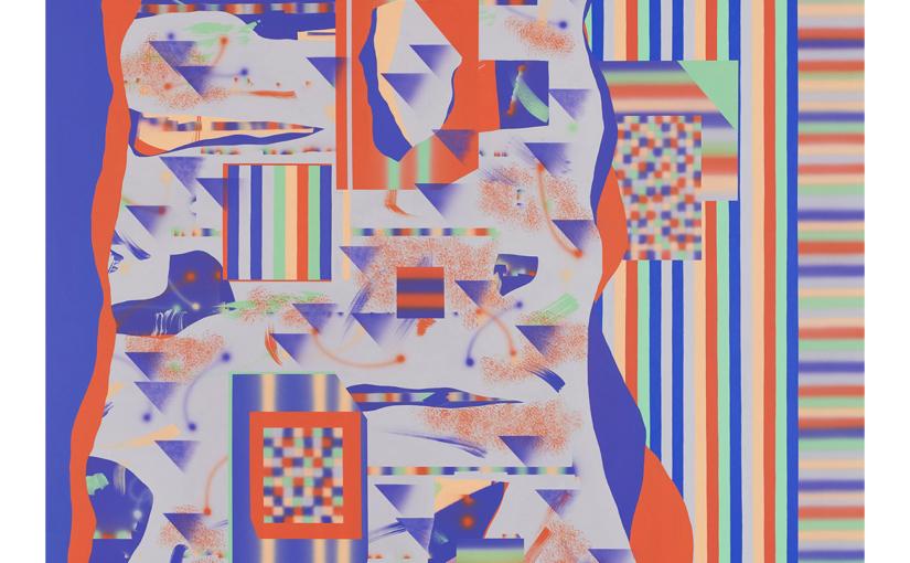 Farbe zu Farbe/blaugrau . 2019 . 170 x 180 cm . Acryl auf Baumwolle