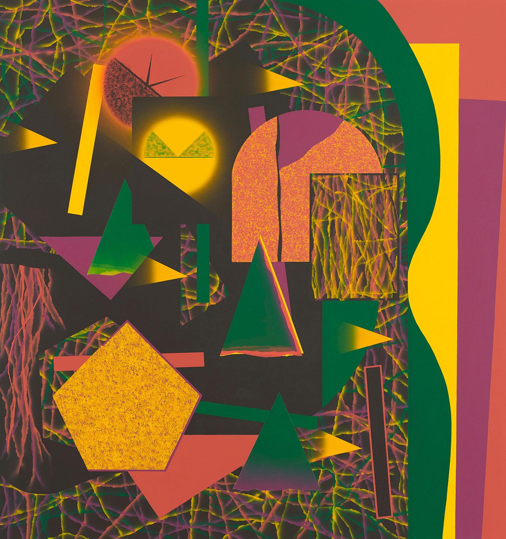 Schulterhöhe/rötliches Gelb . 2019 . 180 x 170 cm . Acryl auf Baumwolle