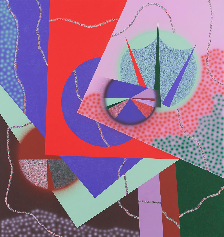 nacheinander geschehen/Weidenbaum . 2019 . 180 x 170 cm . Acryl auf Baumwolle
