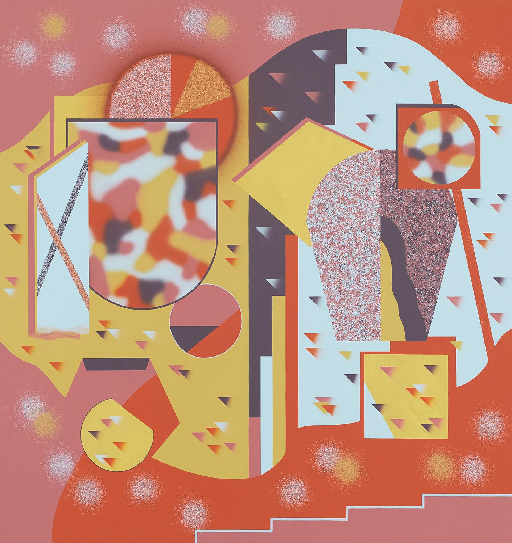 gegenüber gegenseitig/Zwischenraum . 2020 . 180 x 170 cm . Acryl auf Baumwolle